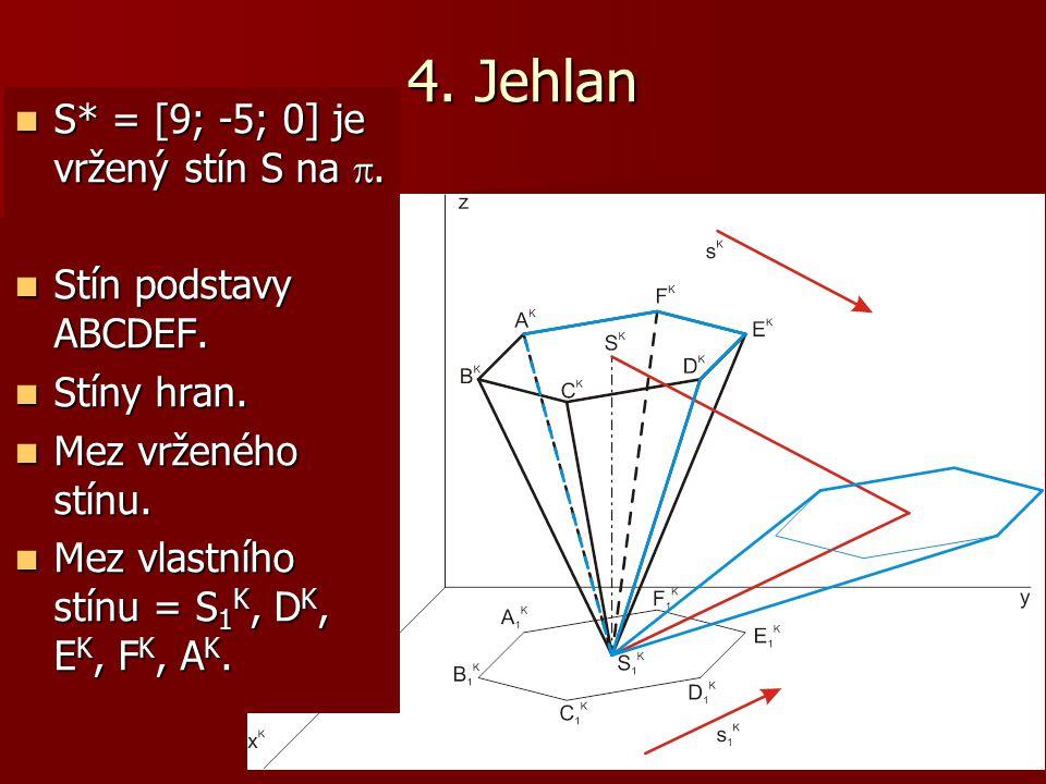 4. Jehlan S* = [9; -5; 0] je vržený stín S na . Stín podstavy ABCDEF.